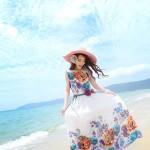 Hình ảnh nguồn hàng Váy maxi voan nữ không tay cổ thuyền hoa lá đáng yêu giá sỉ quảng châu taobao 1688 trung quốc về TpHCM