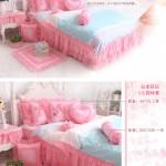 Hình ảnh nguồn hàng Bộ ga giường bông bèo nhún mềm mại dễ thương giá sỉ quảng châu taobao 1688 trung quốc về TpHCM