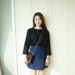 Hình ảnh nguồn hàng Chân váy jean nữ ngắn sọc đứng cổ điển giá sỉ quảng châu taobao 1688 trung quốc về TpHCM
