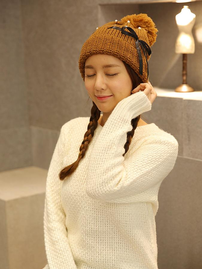 Nón len nữ chui đầu đính nơ dễ thương Mua Bán Sỉ Lẻ Order Quảng Châu