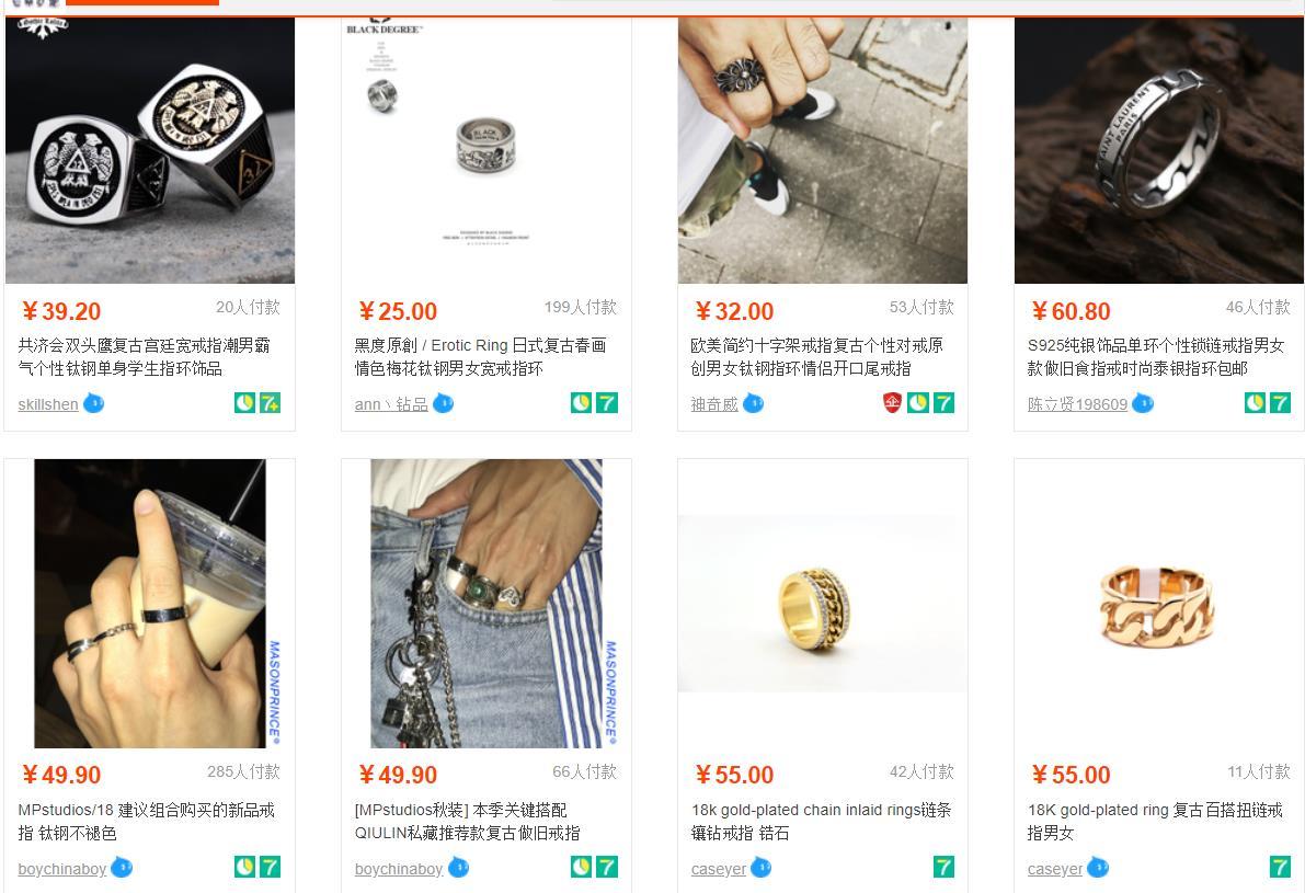 Hình ảnh nguồn hàng Nhập - Order Nhẫn Nam Giá Rẻ Tận Gốc Từ Taobao giá sỉ quảng châu taobao 1688 trung quốc về TpHCM