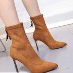 Giày Boots Nhung Gót Nhọn